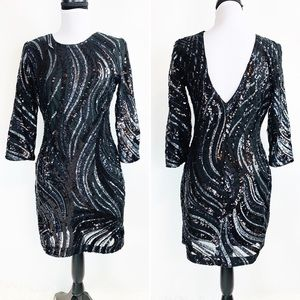 Express $108 Sequined Party V-back Dress